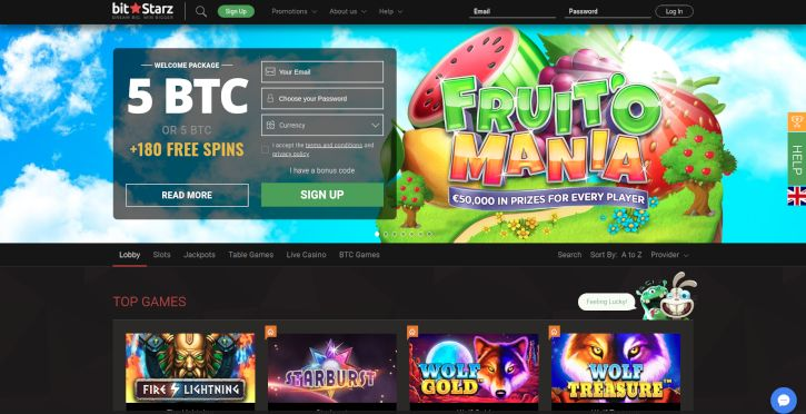 BitStarz Casino home page