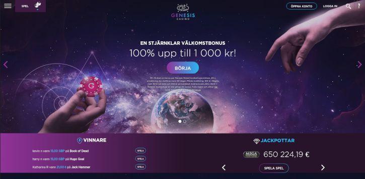 Genesis Casino home page