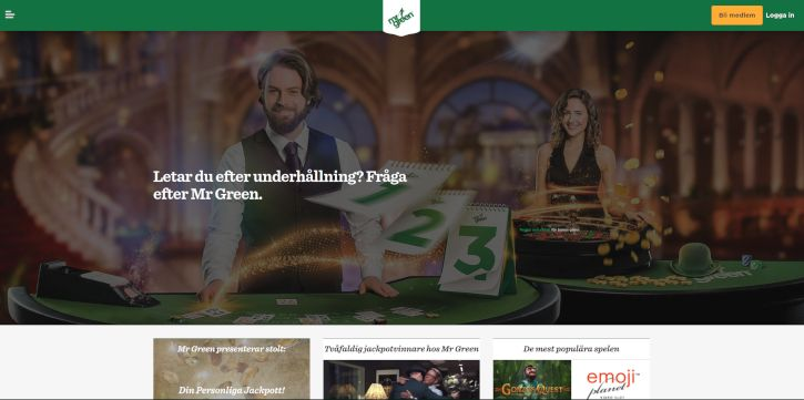 Mr. Green Casino home page