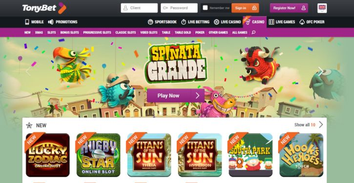 TonyBet Casino home page
