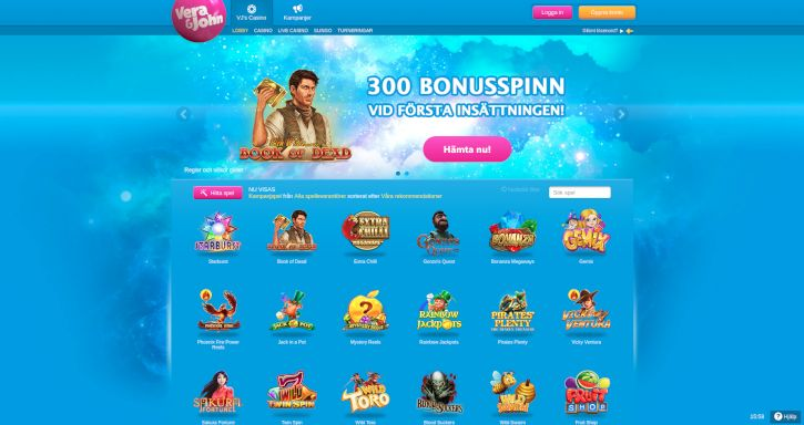 Verajohn Casino home page